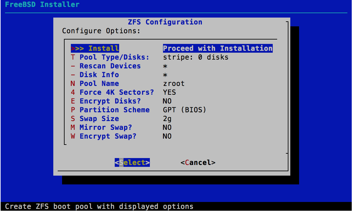 ZFS Configuration - FreeBSD 11.0 Installer