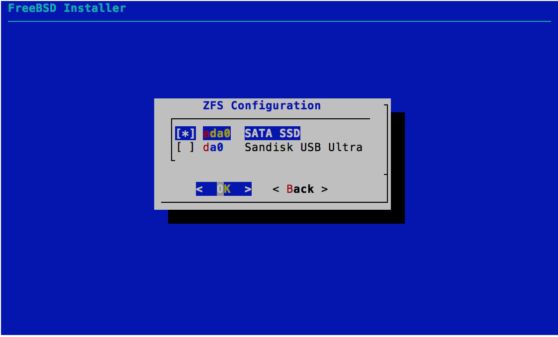 ZFS Configuration - Select Disks - FreeBSD 11.0 Installer