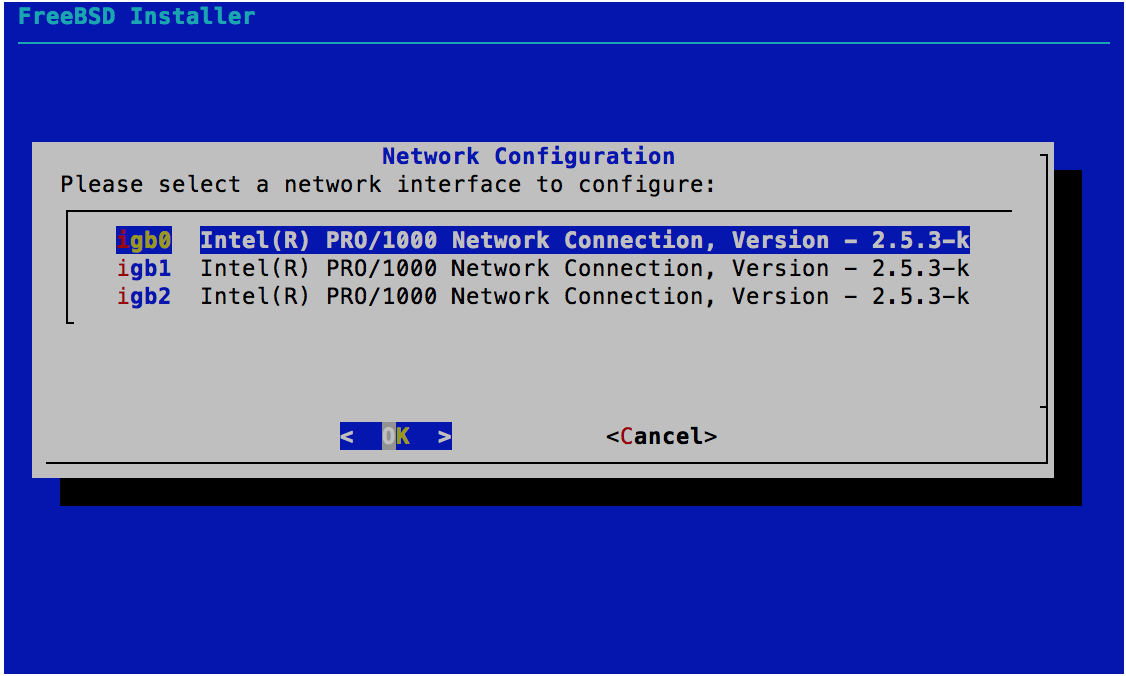 Network Configuration - NIC Selection - FreeBSD 11.0 Installer