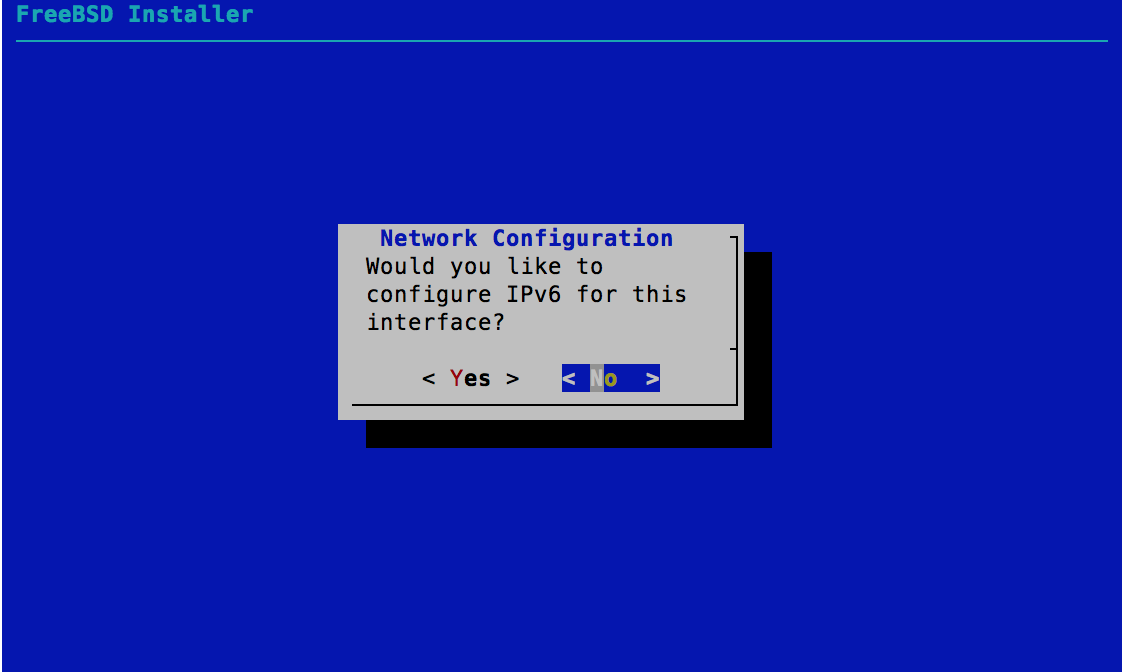 Network Configuration - IPv6 Configuration - FreeBSD 11.0 Installer