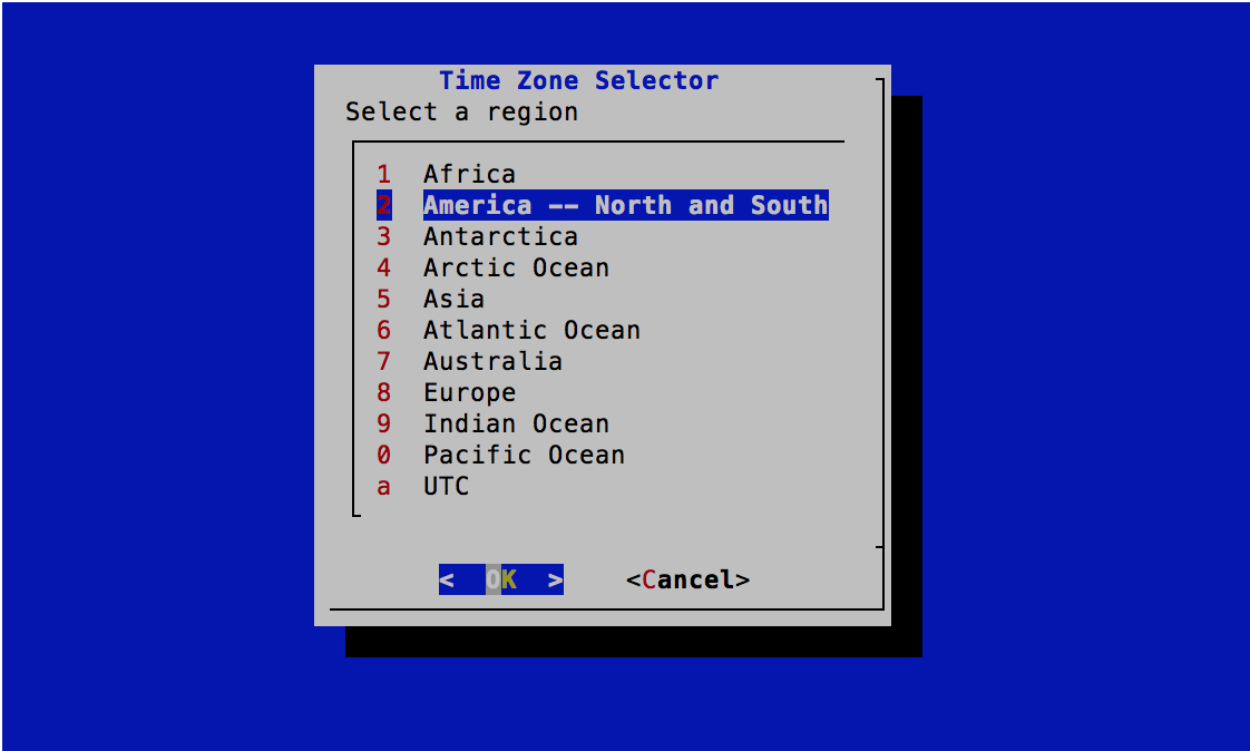 Time Zone Selector - Select Region - FreeBSD 11.0 Installer