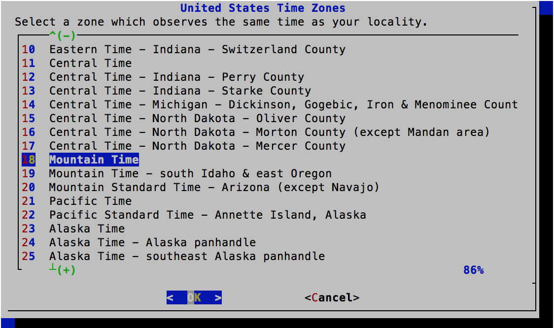 Time Zone Selector - Select  - FreeBSD 11.0 Installer