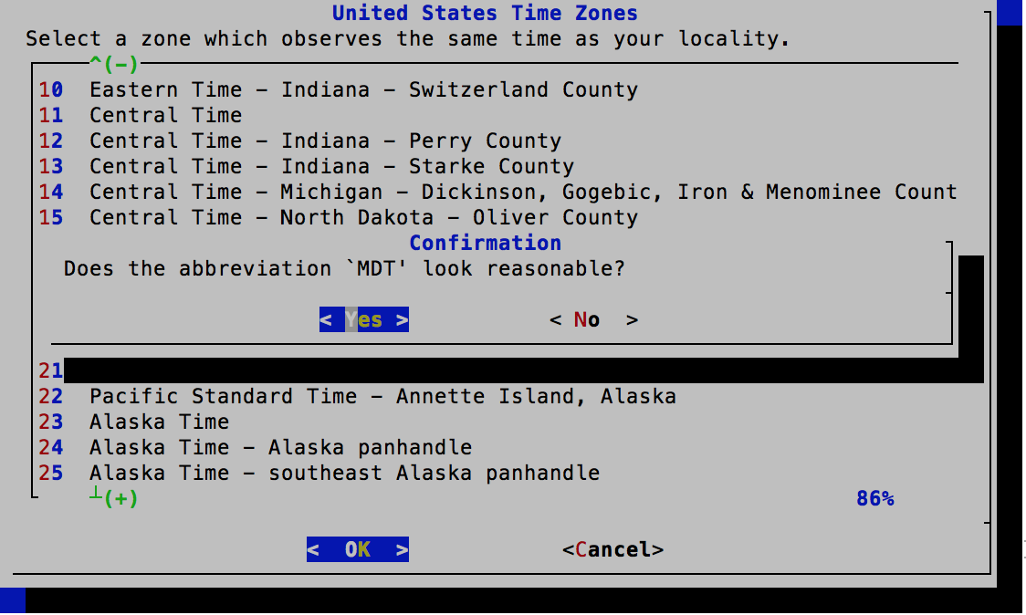 Time Zone Selector - Confirm Selection - FreeBSD 11.0 Installer
