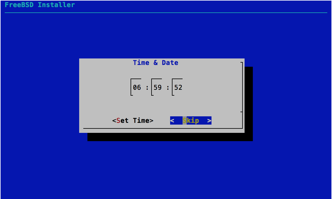 Time & Date - Time - FreeBSD 11.0 Installer