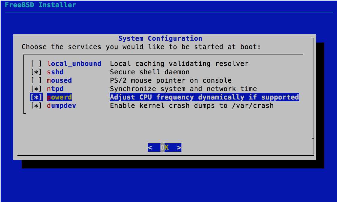 System Configuration - FreeBSD 11.0 Installer